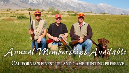 California Pheasant Hunting Club Membership